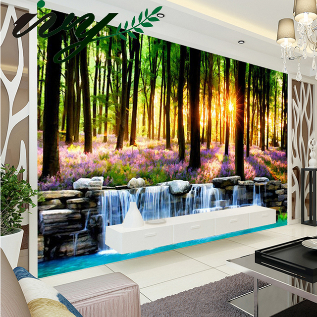 Gran fondo de pantalla para paredes 3d pintura estilo bosque flores de pared foto murales de - Estilos de pintura para paredes ...