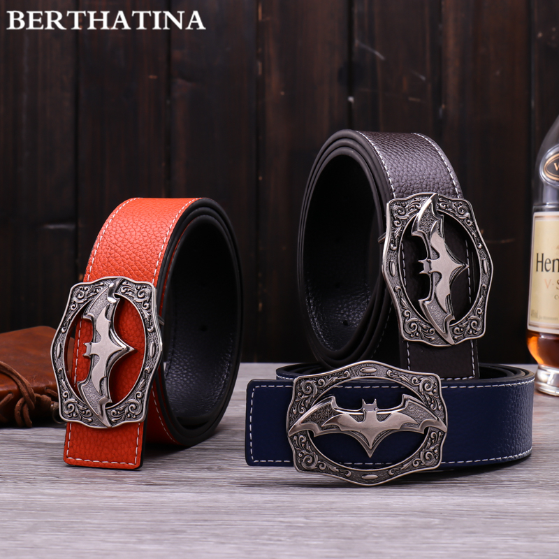 BERTHATINA New Designer Mens Leather Belt Causal Fashion Alloy Batman logo Smooth Buckles Hot Luxury Brand Waistbelt For Men