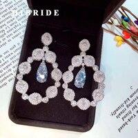 HIBRIDE Luxury Wedding Bridal Women Brincos Mujer Drop Earring Fashion Charm Jewelry Female Anniversary Gifts E 650