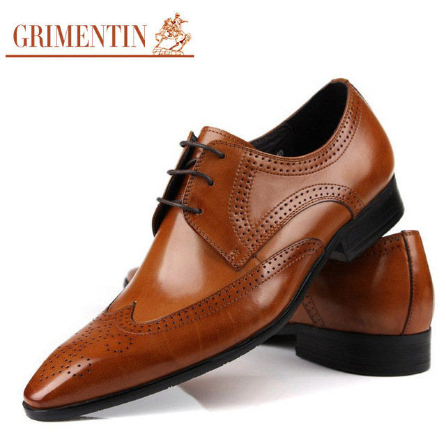 Grimentin Brand Oxford Genuine Leather Men Shoes Dress Wedding Tan