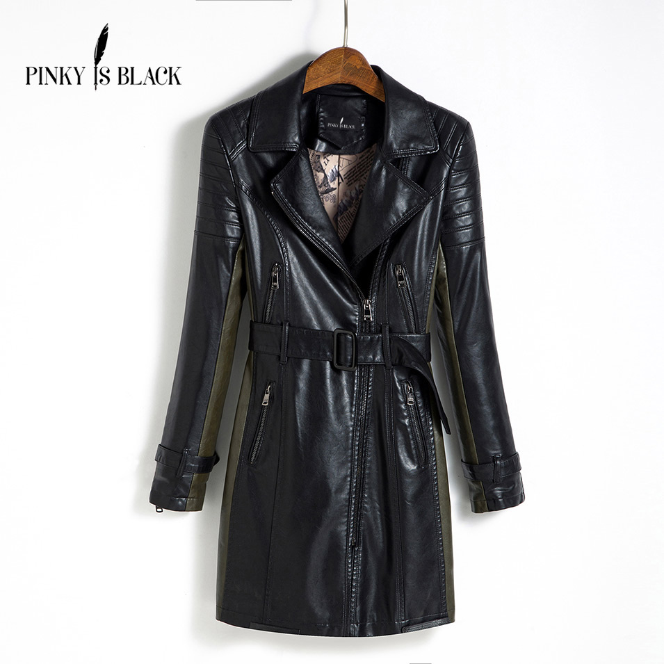 Pinky Is Black Medium-Long Leather Jacket Women 2017 New Autumn Plus Size 5XL Black/Army Green Spliced Sashes Coat