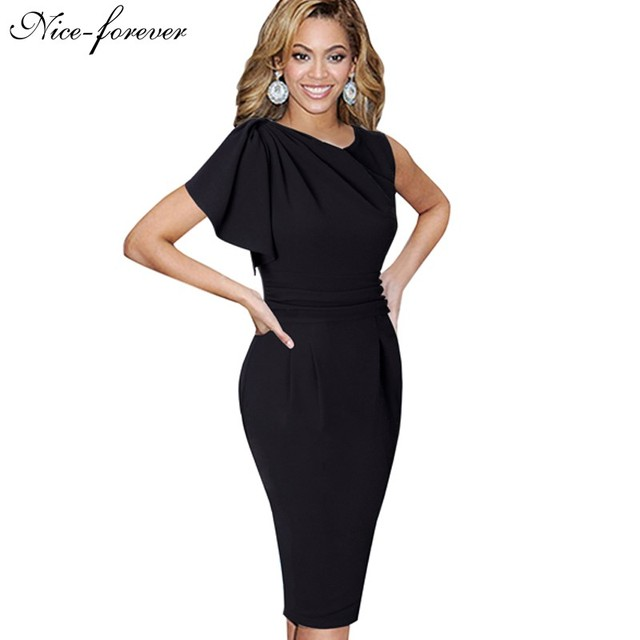 Nice-forever dama elegante manga de la colmena de trabajo hasta la rodilla oficina ocasional delgado wiggle lápiz bodycon mujer dress b311