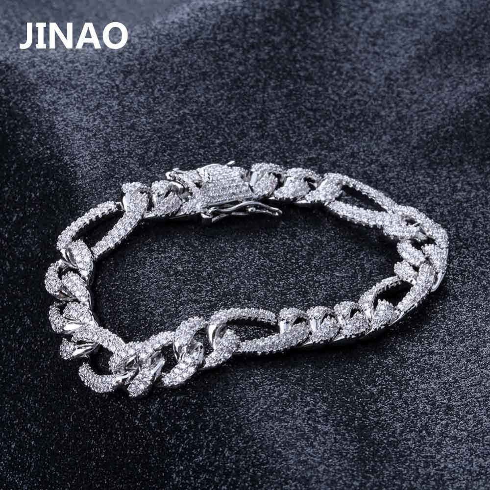 10mm Personality  Iced Out Miami Curb Men Bracelets Gold Silver Color Hip Hop Jewelry Cuban Chians Crystal CZ Rapper Punk Gifts