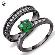 2018 Charming Green Crystal Zircon Ring Sets Vintage Wedding Rings For Men And Women Black Gold Filled Jewelry Valentine's Day(China)