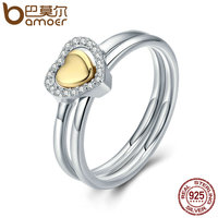 BAMOER 100 925 Sterling Silver Heart Of Gold Puzzle Ring Stack Female Finger Ring For Women