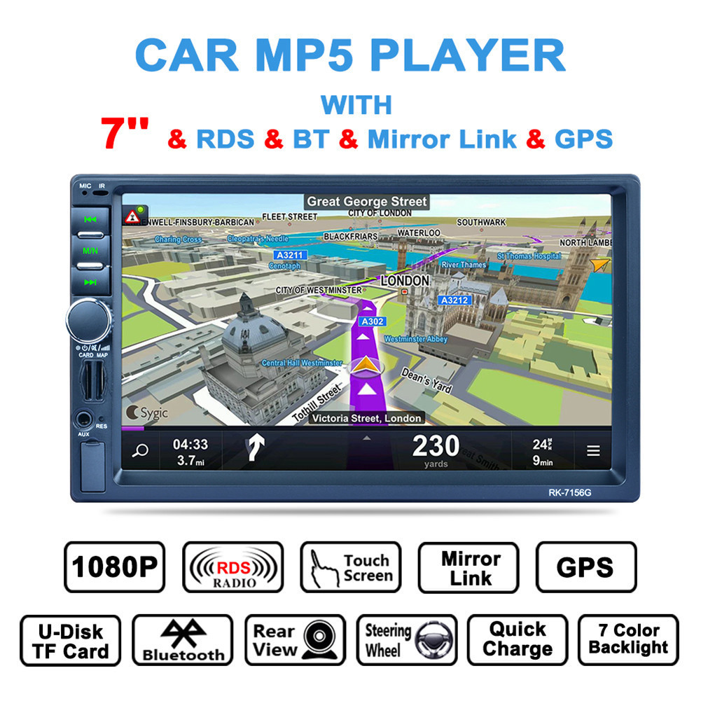 7156G 7 inch Car Media Payer 2DIN HD Touch screen Bluetooth GPS Navigation Fast Charge Car Stereo Radio Video player Rear camera 180 16 9 fast fold front and rear projection screen back