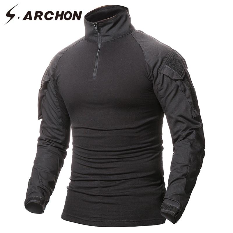 S. arcon Multicam uniforme militar de manga larga Camiseta hombres camuflaje ejército combate camisa Airsoft Paintball ropa camiseta táctica