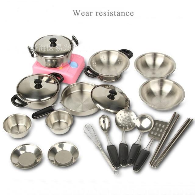 18 unids/set nueva educación pretend play del cabrito mini herramientas de cocina de acero inoxidable accesorios de cocina toys
