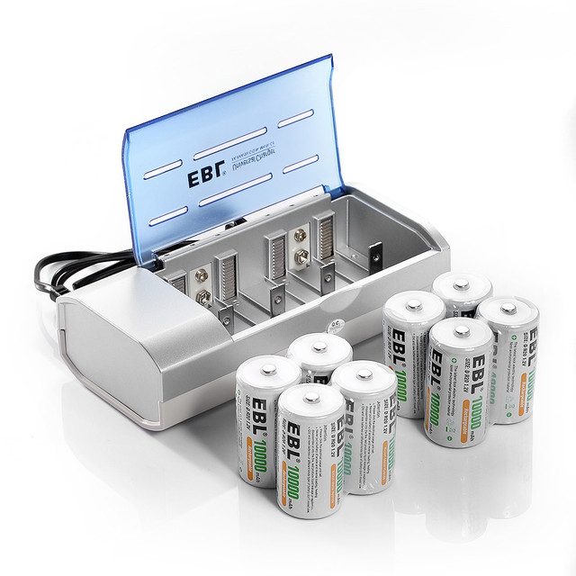 8pcs/lot EBL 10000mAh Rechargeable Batteries + AA AAA C D Size 9V 6F22 Ni-MH Ni-CD Battery Charger Portable free shipping
