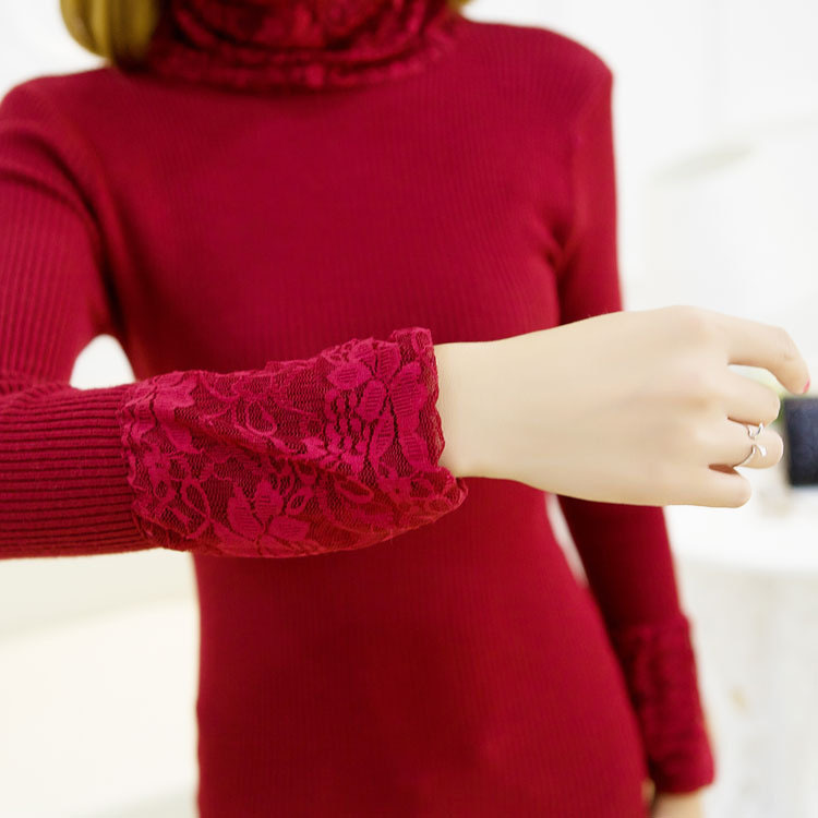 New 10 Colors Fashion Winter Clothing Lace Slim Turtleneck Sweater Women Sweaters And Pullovers Female Knitted