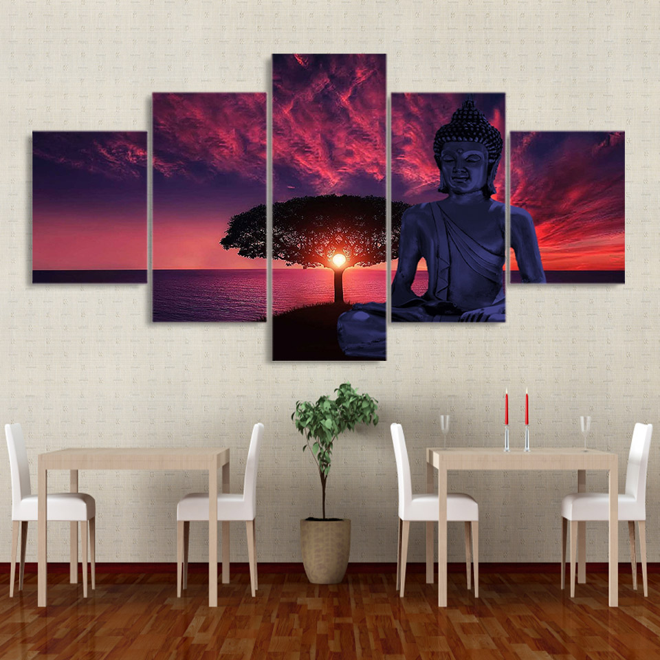 Home Decor Living Room HD Printed 5 Panel Sunset Scenery Buddha Framework Wall Artwork Painting Canvas Poster Modular Pictures