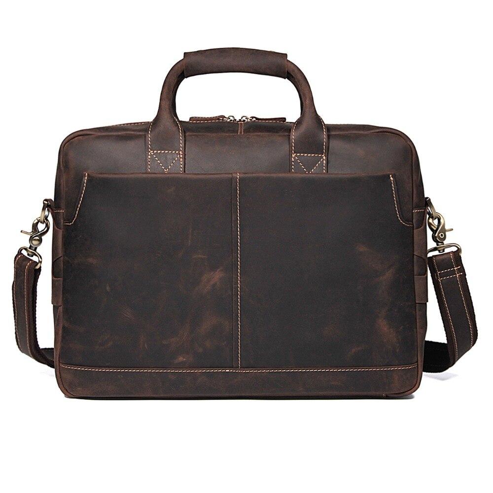 J.M.D Crazy Horse Leather Large Briefcases Large Capacity Laptop Bag 7382R