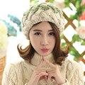 Мода зима береты для женщин вязаный шерстяной плоские крышки французский стиль vintage настоящее мех кролика мяч шапочка Hat дамы классический берет