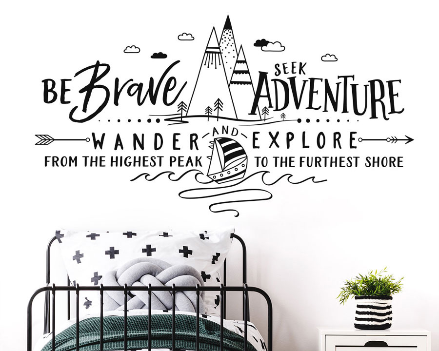 Motivational slogan summer camp outdoor forest sailing wall decals children's youth bedroom vinyl home decoration wallpaper ER47-in Wall Stickers from Home & Garden
