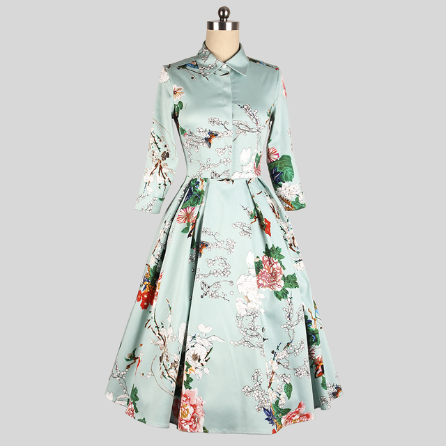 plum blossom vintage 50s 3 4 sleeve turn down collar rockabilly mai pin up  cotton swing dress plus size 4xl vestidos dresses e97c9901c7fd