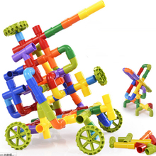 68pcs/set 2016 Novelty Toys Assembling water pipe plastic building blocks belt wheel pipeline enlighten kids toys
