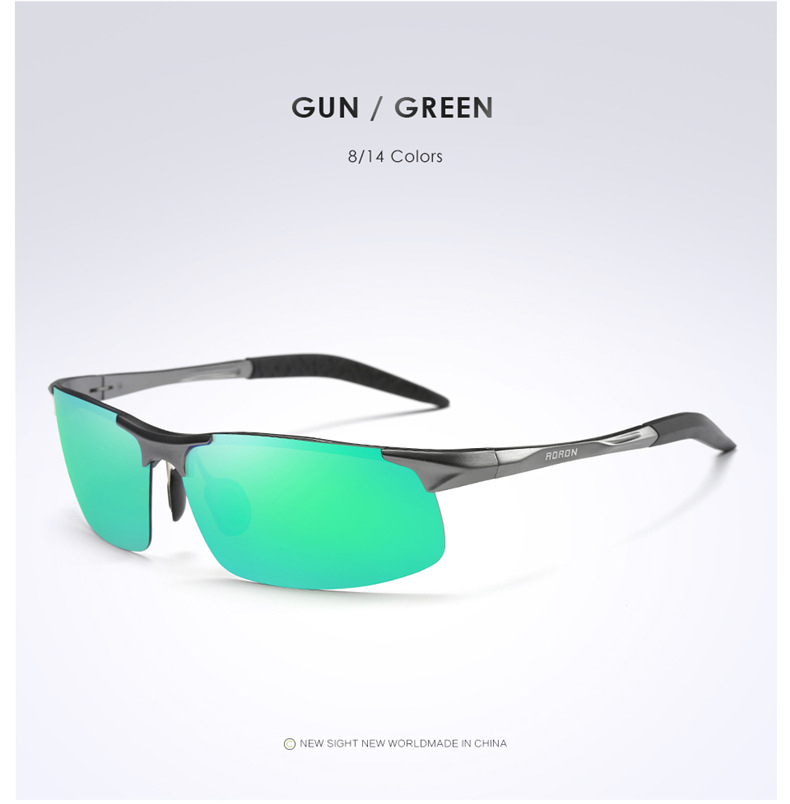 AORON Driving Polaroid Sun Glasses Aluminum Frame Sports Sunglasses Men Polarized Driver Retro UV400 Anti-glare Goggles 14