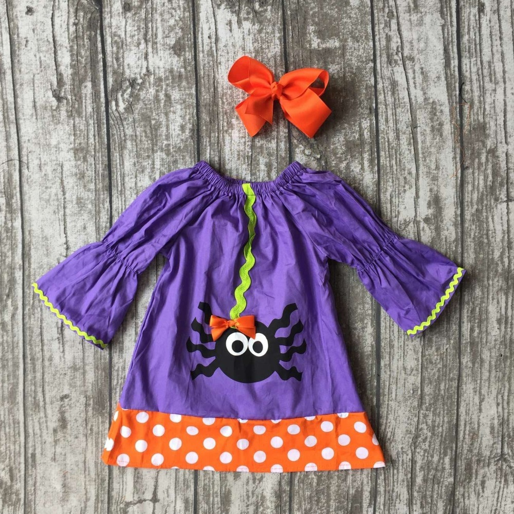 Baby girls spider dress girls halloween woven fabric dress for Fabric for children s clothes