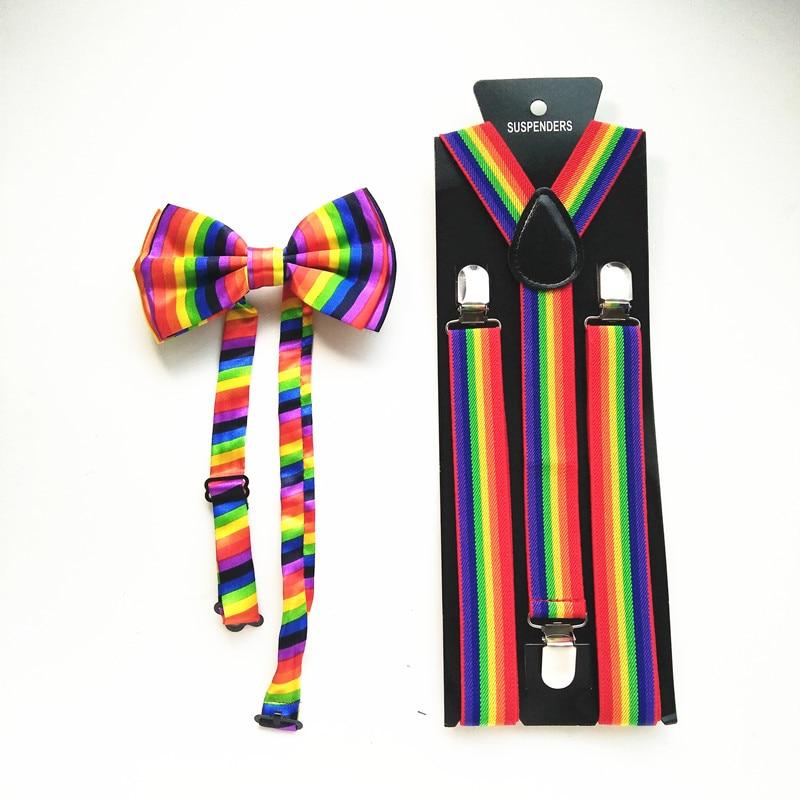 Rainbow Strip Suspenders Bowtie Set For Women Men Unisex Adult Striped Suspender Bow Tie Sets Wedding Match Shirt LB011