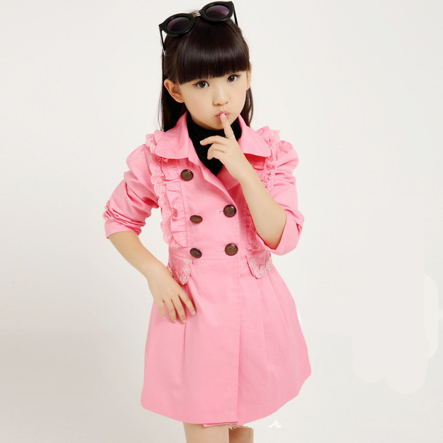 2016 Brand Girls Autumn Winter Outerwear Children Double-Breasted Lace Trench Coat Girls School Lovely Coat Hot Sale