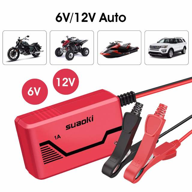 SUAOKI ICS1 6V/12V Battery Charger Portable Automatic Maintainer for Car  Truck Motorcycle Boat Motorcycle RV Lawn Tractor