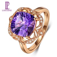Lohaspie Solid 18K Rose Gold 3 36ct Natural African Amethyst Diamond Ring New Arrival For Women