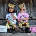 2016 Девочек Одежда Малыша Дети Baby Girl Костюмы Оголовье + Топ футболка + Золото Лакированной Кожи Брюки 3 Шт. Детская Одежда Набор