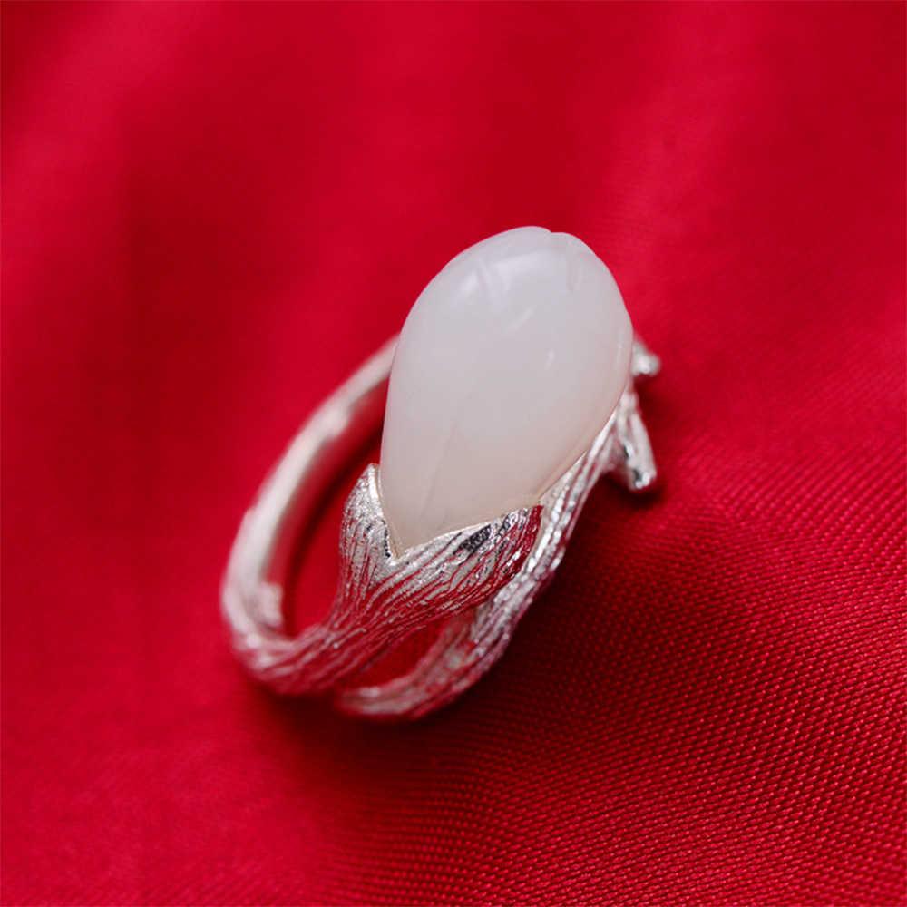 MetJaktวินเทจแปรงแหวนของแข็ง925เงินสเตอร์ลิงเปิดแหวนฝังธรรมชาติHetianหยกสำหรับเครื่องประดับFineสตรี
