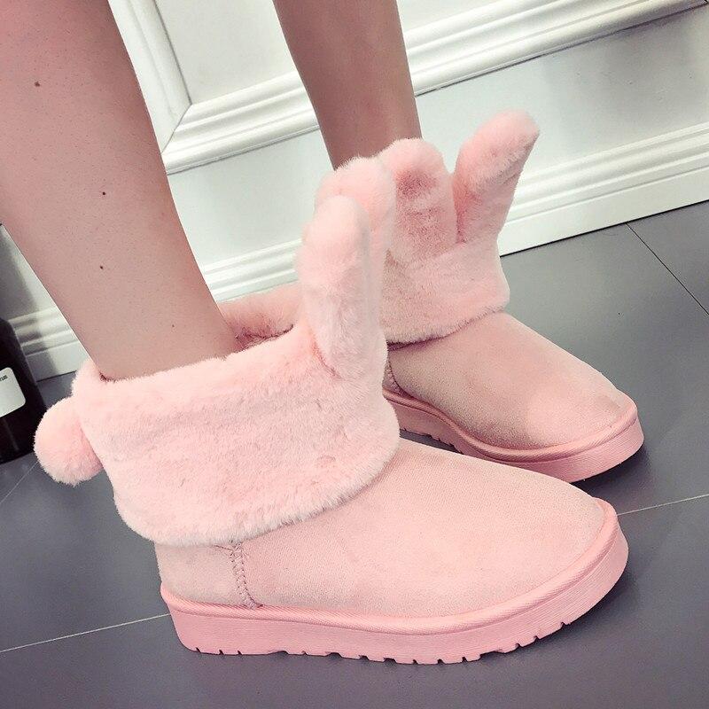 Caliente En Moda Glossy Señoras Algodón rosado Cargadores black Antideslizante De gris Nuevos Mujeres La 2018 Tubo Nieve Beige Conejo Invierno El Zapatos negro Orejas 7Pwq8nBxn
