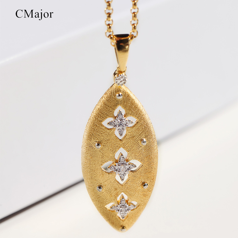 Cmajor Solid Silver Waterdrop Shaped Hollow Four-leaf Clover Gold Color Pendant Necklaces For Women For St. Patrick's Day punk style solid color hollow out rhinestone leaf shape pendant necklace for women