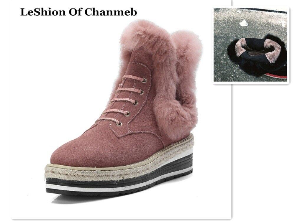 Stivaletti Scarpe Stivali Boots Caviglia Reale 2019 Dentro Black Pelliccia Della  Donna Elastico Del Di pink Rosa Spessore Le Coniglio Caldo Cuoio Nero ... 1c05c56887f