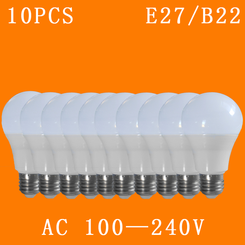 10pcs /lot E27/B22 100-240V LED Lamp Cool/Warm White SMD2835 Bulbs Living Room Lighting Light 3W/5W/7W/9W/12W/15W/18 Led  Bulb
