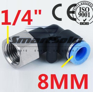 """Free Shipping 10pcs/lot 8mm To 1/4"""" Female Thread L Elbow Pneumatic Hose Gas Connector 90 degree PLF 8-02"""