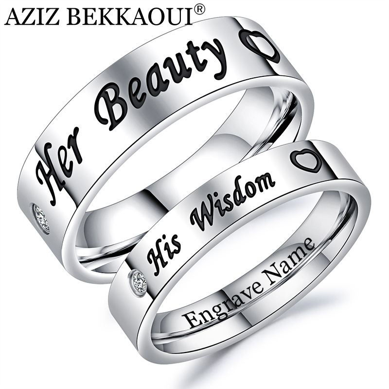 AZIZ BEKKAOUI Couple Rings Her Beauty His Wisdom Engrave Name 316l Stainless Steel Engagement