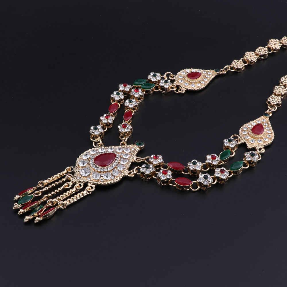 Для женщин Свадебные африканские бусы комплект ювелирных изделий Красный Зеленый Кристалл Дубай Свадебные золото Цвет Цепочки и ожерелья комплекты вечерние индийский Jewellery
