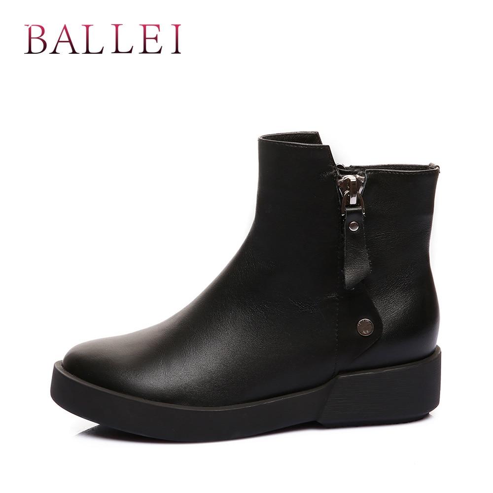 Bout Zipper Classique Faible Vintage Boot Cuir Femme Bottines Rond Chaussures Doux Solide Qualité Mature Black Talon Véritable En B68 Rétro Ballei wqZ8fFxZ
