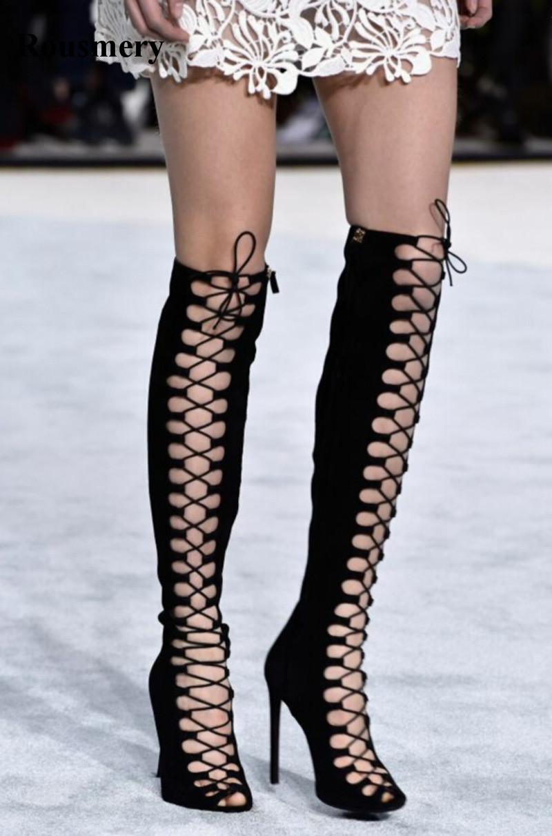 High Quality Women Fashion Lace-up Black Suede Leather Knee High Gladiator Boots Cut-out Long Super High Heel Boots Dress Shoes black cut out lace details cold shoulder long sleeves top