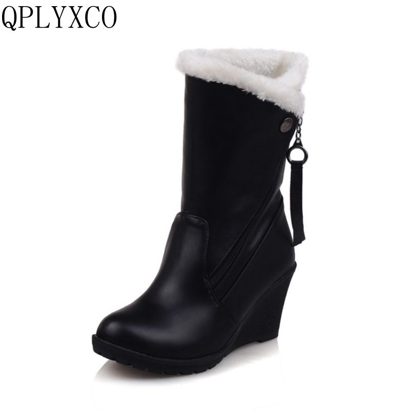 QPLYXCO 2017 Big Size 30-52 Russia Women Winter Warm Snow Boots Ladies Sweet Mid Calf Botas Woman Round Toe Zipper Shoes 1573 2016 winter women short snow boots fashion suede round toe low heel shoes big size 30 52 ladies slip on mid calf tassel boots