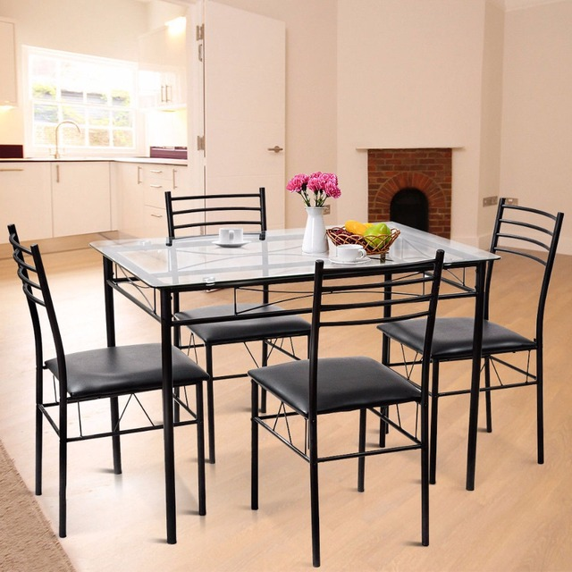 5PC Dining Set Modern Dining Room Tempered Glass Top Table & 4 Upholstered Dining Chairs Kitchen Furniture HW61400 1