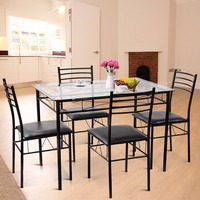 5PC Dining Set Modern Dining Room Tempered Glass Top Table & 4 Upholstered Dining Chairs Kitchen Furniture HW61400