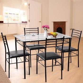 Giantex 5 piezas Juego de Comedor moderno comedor mesa superior de ...