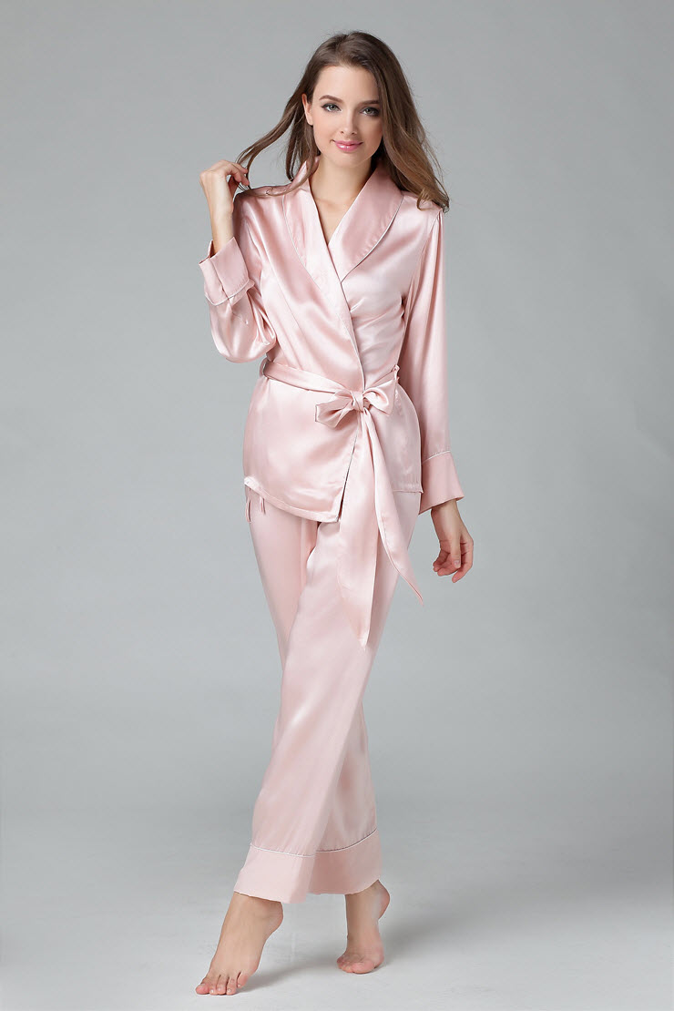 100% Pure Silk Women's   Pajama     Set   With Belt Sleepwear Nightgown M L XL YM008