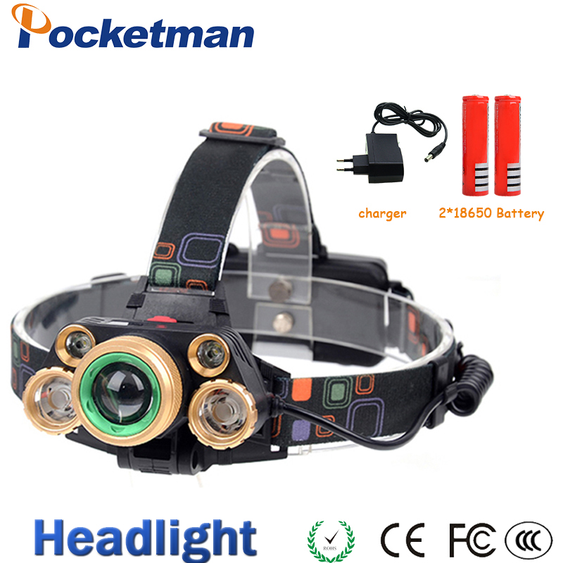 Zoom Head lamp 15000lm High power LED Head torch XML T6 +4XPE Rechargeable headlight 5 led Headlamp 4 Modes for 18650 battery