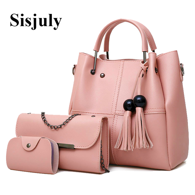 92e8bca98dda 3Pcs Tassel Set Bag Women Leather Handbags And Purses Female Shoulder Bags  Fashion Chains Woman Messenger