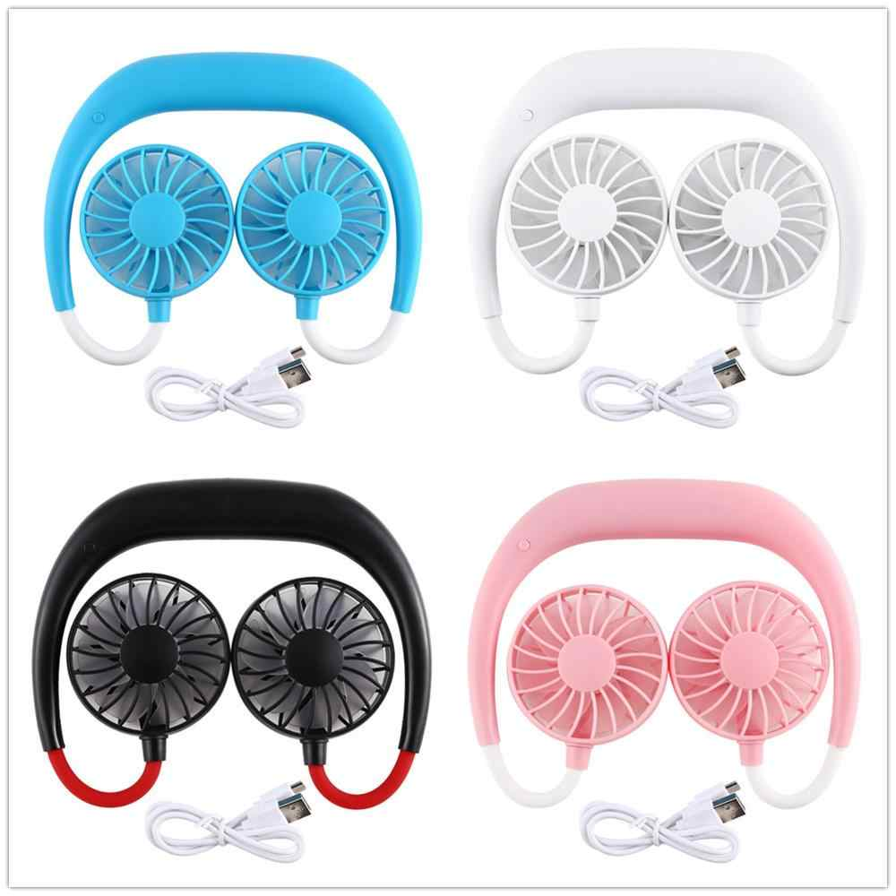 Hands-Free Leher Band Hands-Free Gantung USB Rechargeable Dual Kipas Angin Mini Air Cooler Musim Panas Portable 2000mA Sarmocare