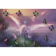 Laeacco White Horses Butterfly Dreamy River Mountain Natural Scene Photography Backgrounds Photographic Photo Backdrops Studio