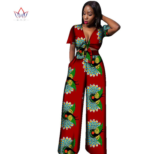 a88be5c9a 2017 African Print Cotton Suit Woman Plus Size 2 Pieces Short Top and Pants  Set African Traditional Dashiki Clothing BRW WY1861