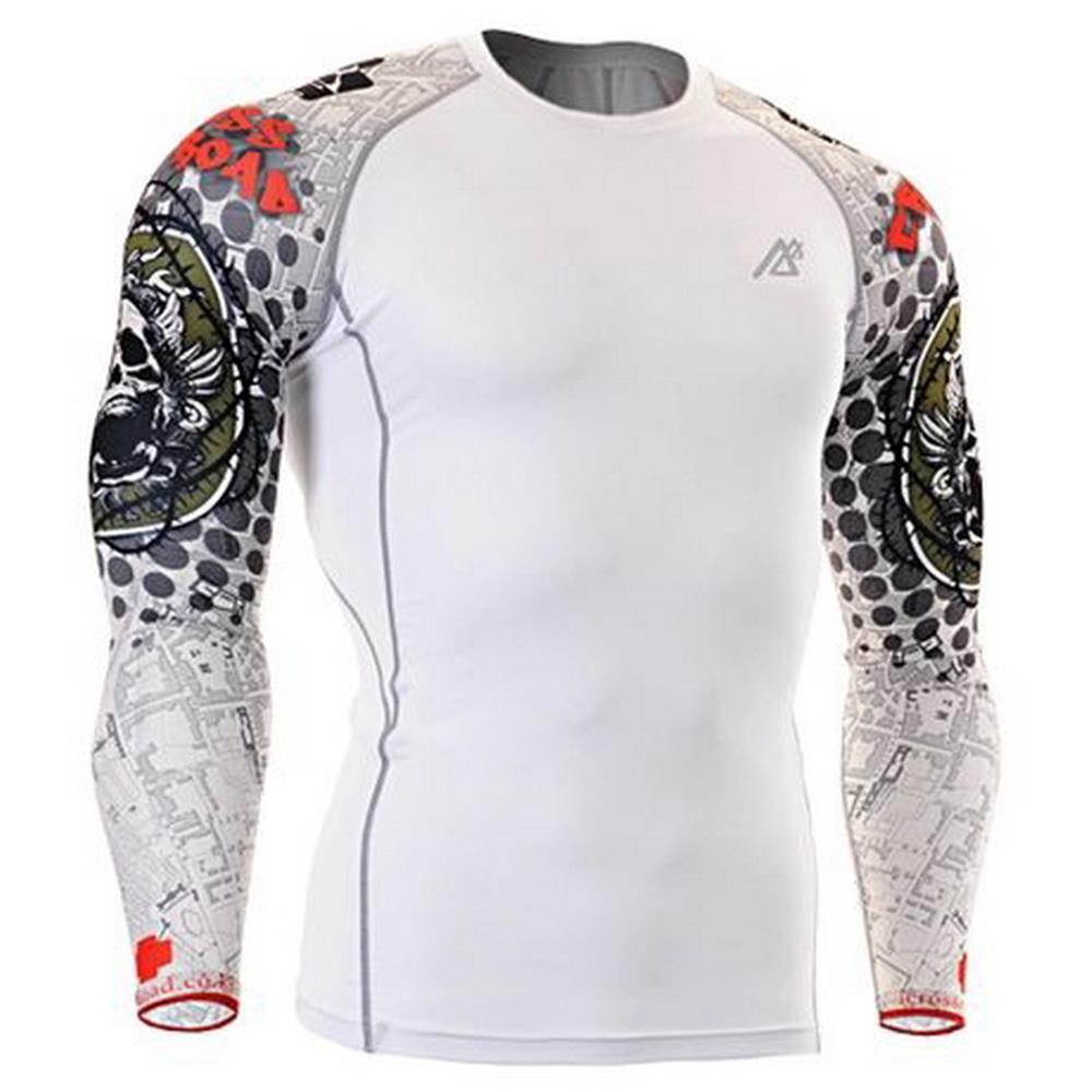 White Mens football Underwear Long Sleeve Football Jerseys base layer Skins Compression  Shirt Body Building Printing Skull 3bf61ba42b