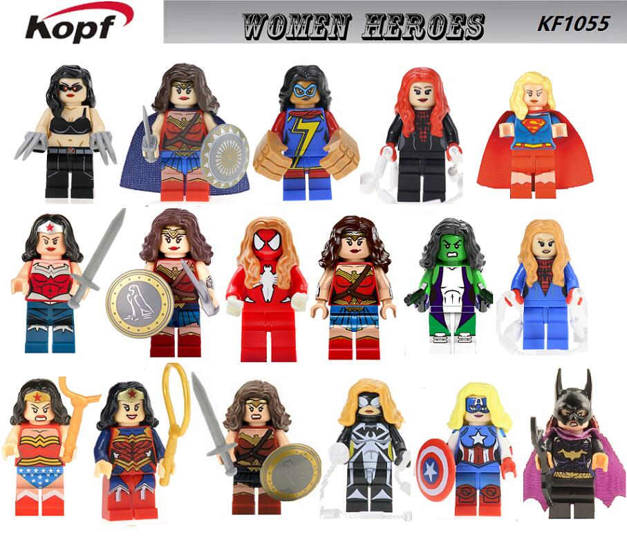 Single Sale Super Heroes Wonder Woman Spider-Woman She Hulk Superwoman Female Captain America Building Blocks Kids Toys KF1055 singlesale captain america 3 with car civil war marvel super heroes the avengers minifig assemble building blocks kids toys