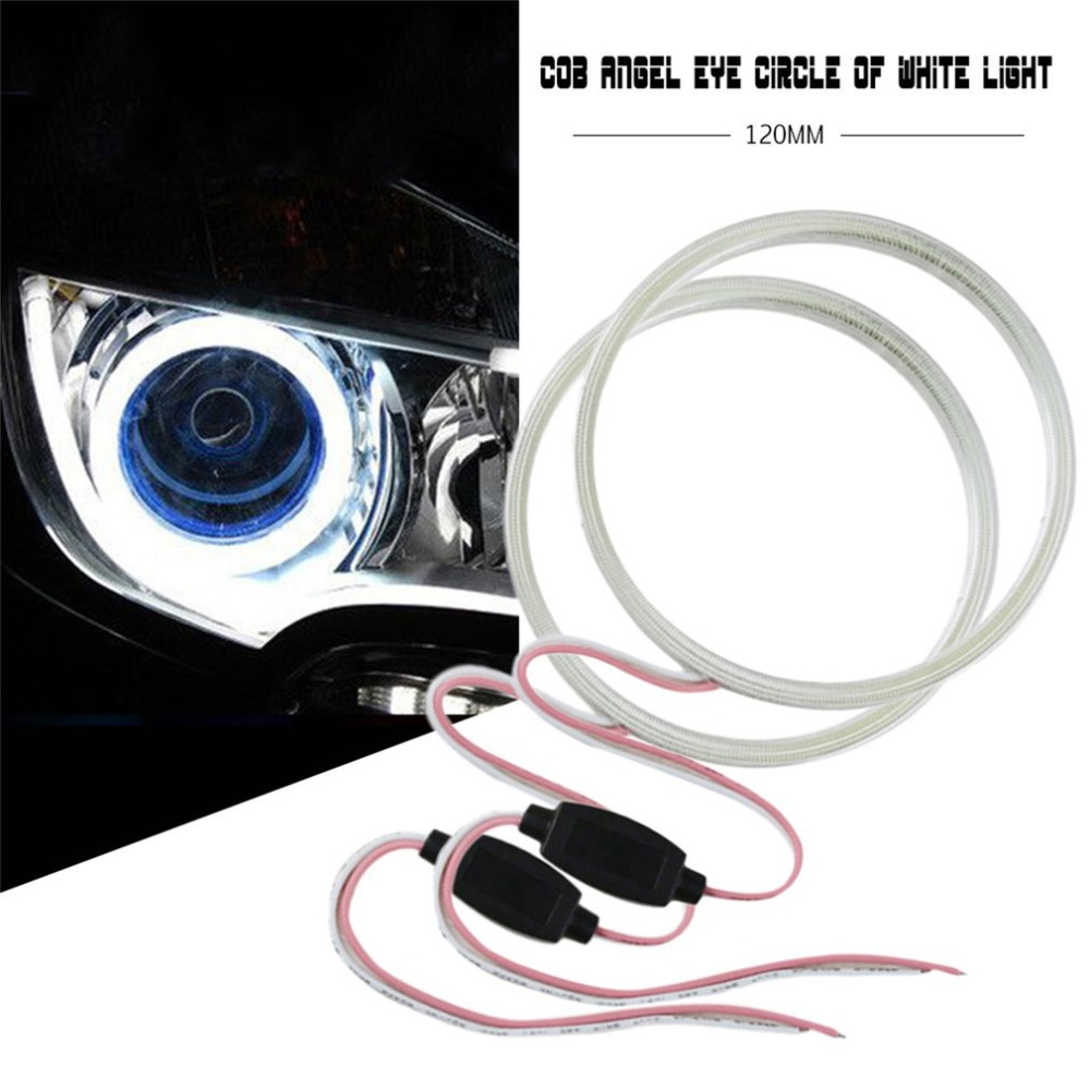 1pair 12V E-Bright White COB Angel <font><b>Eyes</b></font> Aperture Auto Halo <font><b>Ring</b></font> Car Motorcycle With Lampshades White Light free shipping